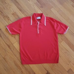 Vintage Red Nylon Polo Mens Retro Shirt